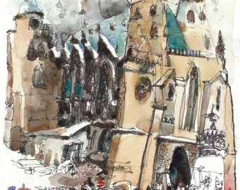 Vienna - St. Stephen's cathedral, drawing, 14x11inch