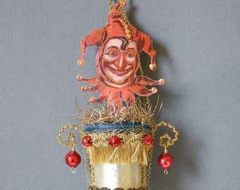 victorian christmas ornament, victorian ornament, antique ornament, circus ornament, antique christmas ornament glass - THE JOKER