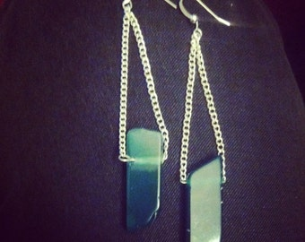 Green Agate Hanging Earrings