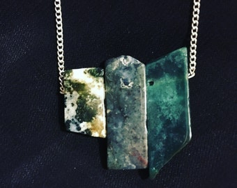 Moss Agate Row Necklace