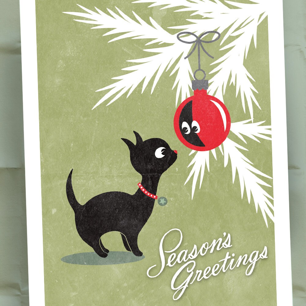 Kitty Cat Holiday Cards / Seasons Greetings Christmas Card Set | Etsy