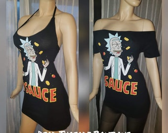 RECYCLED UPCYCLED Halter top dress Tailored Made from  licensed Space Kitty mens shirt Choose size