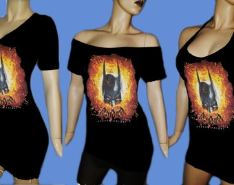 RECYCLED UPCYCLED Halter Top Tailored Made from used licensed Joker batman The Scream Painting munch shirt choose size