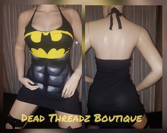 Ready to ship RECYCLED UPCYCLED Halter top dress Tailored Made from used licensed Robin suit Batman shirt size Small