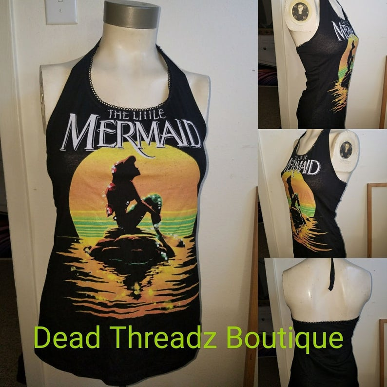 Recycled upcycled Halter top dress Tailored Made from used licensed little mermaid  shirt CHOOSE size