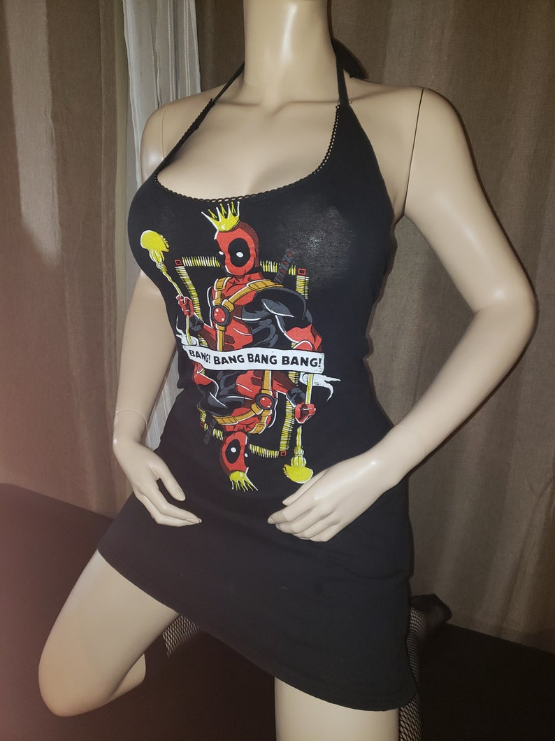 Ready to ship Recycled upcycled Halter top dress Tailored Made from licensed Deadpool queen deck of cards Wade Wilson mens shirt Size Small