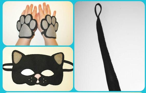 Poignets de queue chat masque ensemble costume noir de feutre fait à la main pour les garçons filles doux habillent des jeux party animal accessoire photo accessoires théâtre roleplay