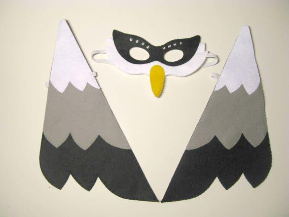 Oiseau masque ailes ensemble noir blanc gris en feutre pour les enfants à la main pour enfants costumes robe accessoire jusqu'à jouer roleplay théâtre accessoires de cabine de Photo