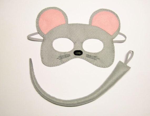 Maus Maske Schwanz Set Für Mädchen Kinder 2 10 Jahre Grau Rosa Süße Weiche Filz Handgefertigte Kostüme Geschenk Für Mädchen Verkleiden Sich Spiel