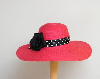 large summer hat   red wide brim sun protection hat   wide brim ladies hat    black and red Audrey Hepburn hat made in Israel b99603d6e30