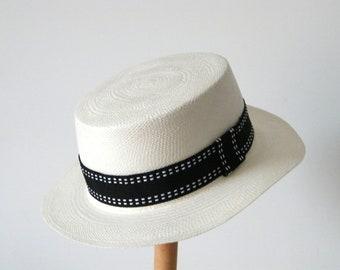 429d73e3d4dc9b Melania hat UK, white boater hat, white Panama hat for women, summer hat,  quality straw hat, white summer hat, black & white hat, elegant be