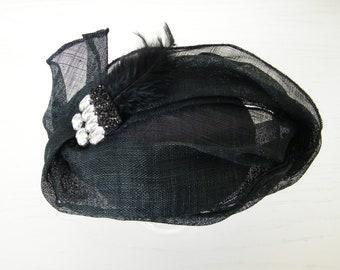 occasion hat for women black wedding hat UK black fascinator funeral hat made in Israel mother of the bride black cocktail hat