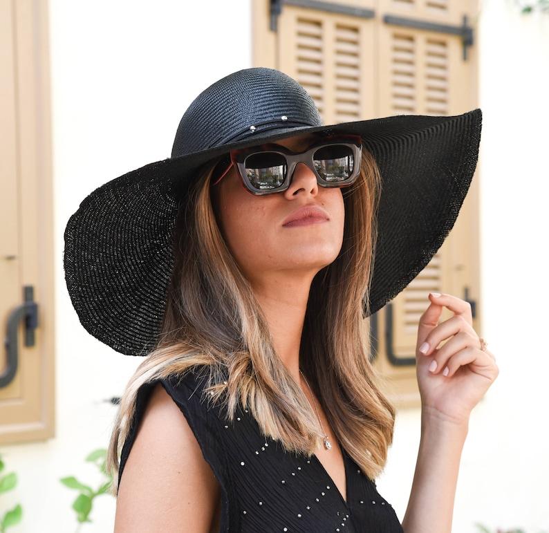 a97139fc Black summer hat / wide brim sun hat/ black straw hat for   Etsy