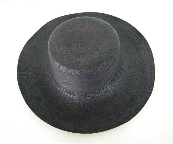 21fd2eb5a04 Navy straw hat for Women / wide brim Panama hat/ elegant sun hat / navy  summer hat/ sun protection hat /ladies beach hat UK