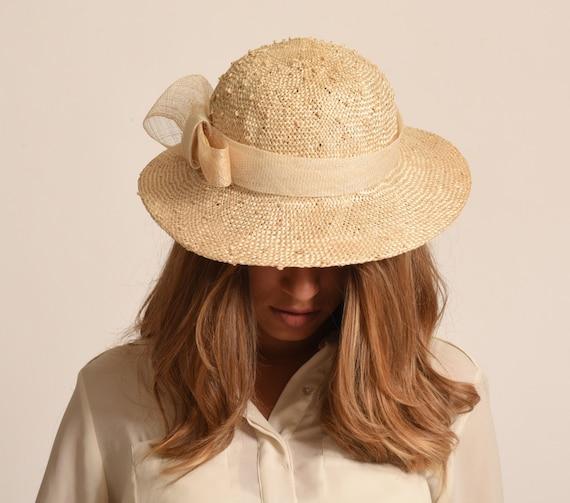 Natural summer straw hat   long brim sun hat   Dressy off  91c446d9e6a