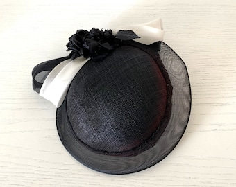 black and white dress hat, black percher, elegant summer hat, occasion hat UK, dressy mini hat, black wedding hat for women