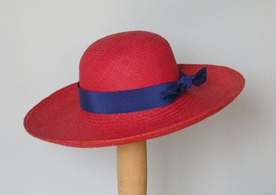 womens red straw summer hat long brim Panama hat for ladies  ea256b9bde5