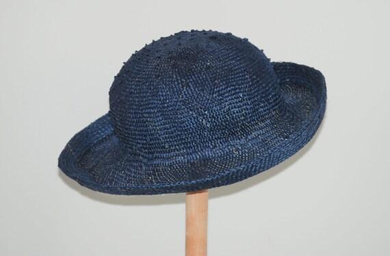 f28fd4798ef blue straw hat for women  navy summer hat  summer cloche hat