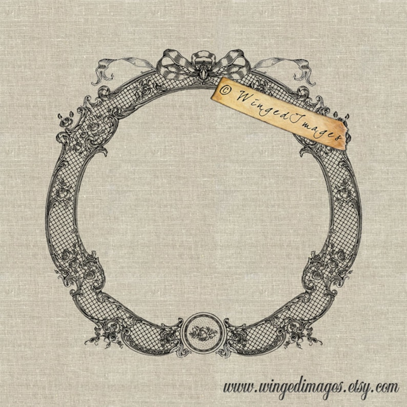 Instant Download Digital Image No.184 Iron-On Transfer to Fabric Paper Prints Beautiful Lacy Frame burlap, linen cards, tags