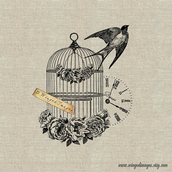 French Vintage Bird Cage Swallow  Instant Download Digital Image No 62  Iron-On Transfer to Fabric (burlap, linen) Paper Prints (cards, tags)