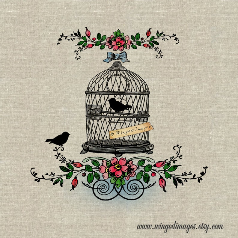 Vintage French Bird Cage  Instant Download Digital Image No 386 Iron-On  Transfer to Fabric (burlap, linen) Paper Prints (cards, tags)