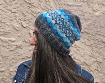 Knitting Pattern ~ Knit Waves Of Plaid Beanie ~ Knitting Pattern