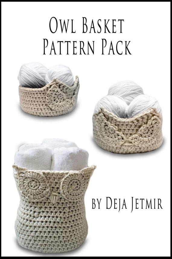 Crochet Pattern Owl Baskets Pattern Pack Crochet Pattern Etsy