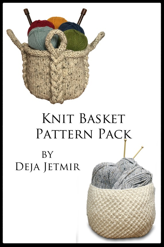 Knitting Pattern Knit Basket Pattern Pack Knitting Pattern Etsy