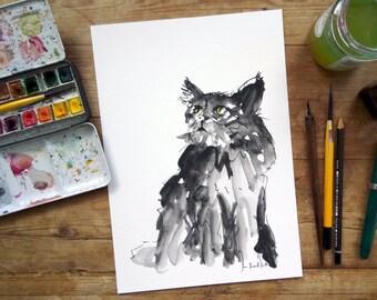 Black Cat Print: Cat Art Print - Framed or Unframed Print - Watercolour Animal Art - Giclee Fine Art Print - Wall Decor - Halloween Art