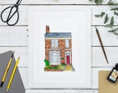 Custom House Portrait: Our First Home, an illustrated home portrait or building painting. Custom housewarming gift or bespoke home decor.