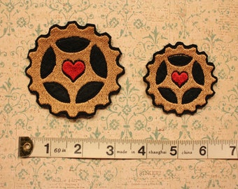 Alice's Night Circus Embroidered Cog Heart Patch Steampunk Music