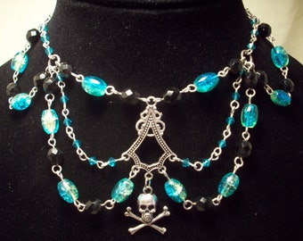 Victorian Choker Glass Beaded Skull and Crossbones Necklace and Charm Bracelet Set