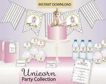 Unicorn Party Collection Party Printable - Instant Download