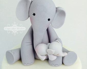 """4"""" Fondant Mama and Baby Elephant Baby Shower Cake Topper by Cupcake Stylist on Etsy"""