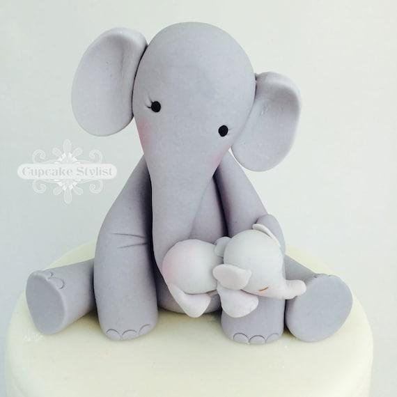 3 Fondant Mama And Baby Elephant Baby Shower Cake Topper Etsy
