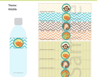 Wildlife themed Water Bottle Labels, INSTANT DOWNLOAD, by Cupcake Stylist on Etsy