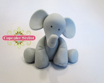 "3"" tall Fondant Elephant Cake Topper, by Cupcake Stylist"