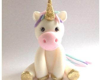 "4"" tall Fondant Unicorn Cake Topper, by Cupcake Stylist on Etsy"