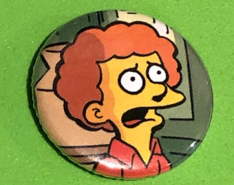 """1 of a kind 1"""" Simpsons Comic Book Button"""
