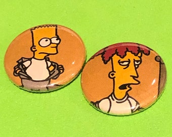 """1 of a kind 1"""" Simpsons 2 Comic Book Buttons - Bart and Sideshow Bob Set"""