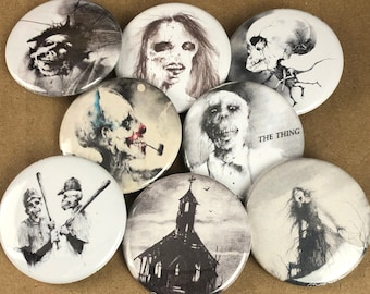 """8 Brand New 1.5"""" """"Scary Stories"""" Button Set"""