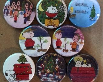 "8 Brand New 1"" ""Peanuts Christmas"" Button Set"