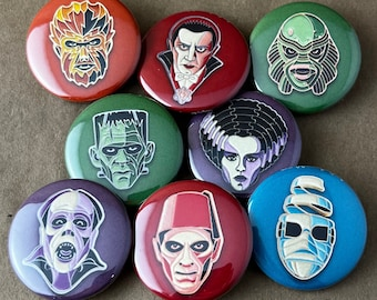 """8 Brand New 1.5"""" """"Colorful Classic Monster"""" Button Set"""