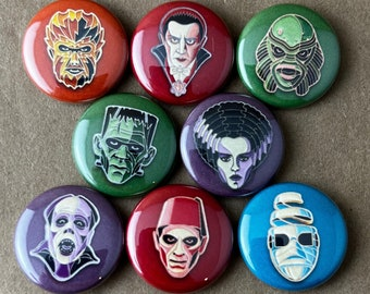 """8 Brand New 1"""" """"Colorful Classic Monster"""" Button Set"""