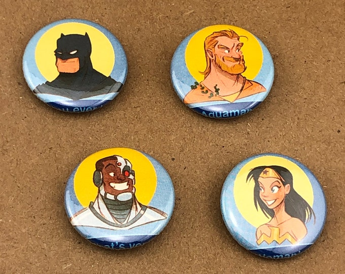 """Featured listing image: 4 1 of a kind 1"""" Comic Book Button"""