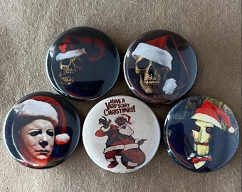 """5 Brand New 1"""" """"Scary Christmas"""" Button Set"""