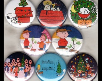 "8 Brand New 1"" ""Peanuts Christmas"" Button Set"
