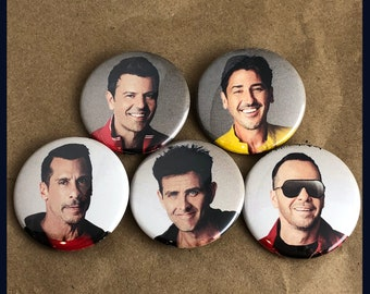 """5 Brand New 1.5"""" """"New Kids on the Block"""" Old Button Set"""