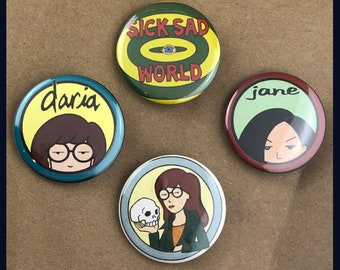 "4 Brand New 1.5"" ""Daria"" Button Set"
