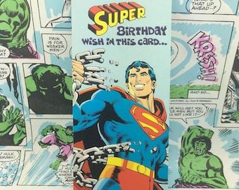 Vintage Superman Wish Birthday Card